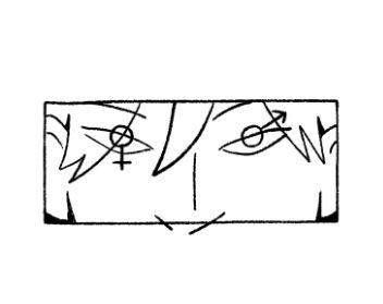 oči osebe, pri katerem je vsaka od zenic en od ženskega in moškega spolnega simbola