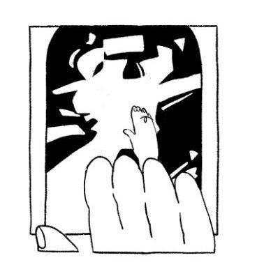 abstraktna ilustracija, čez katero je položena roka